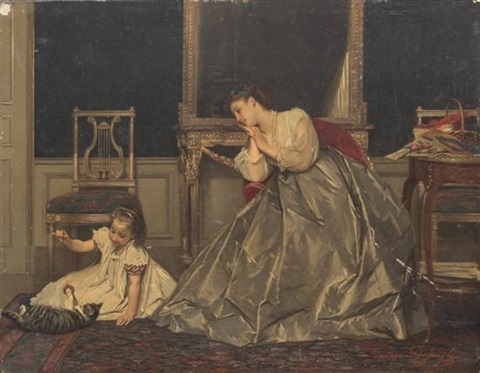 mother and child with cat by gustave léonhard de jonghe