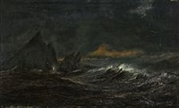 the danish frigate gefion in stormy weather near gibraltar by daniel hermann anton melbye