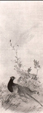 pheasants and autumn flowers by kampo araki
