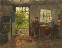 dutch interior lunchtime by charles paul gruppe