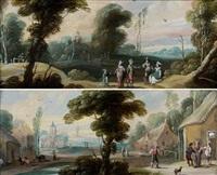 paysage animé de personnages, entrée d'un village animé de personnages (pair) by jasper van der laanen