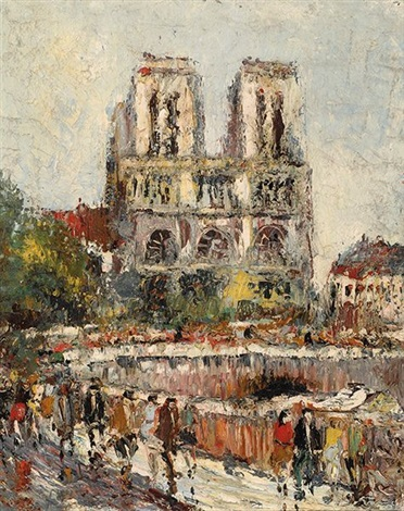 view of the notre dame in paris by alfons jan frans brunott