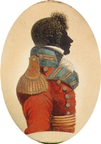 an officer (john day of then 49th regiment?), profile to the right, in a red jacket with green facings by john buncombe