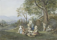 a rustic family; peasants by a woodman's cottage (pairrks) by jean-antoine linck