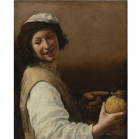 laughing young man with a melon and snail by pier paolo (g.b. carracci) bonzi