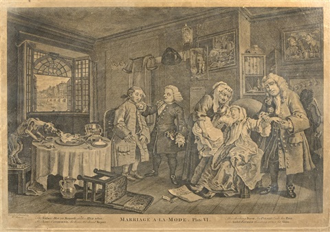marriage a-la-mode (6 works) by william hogarth