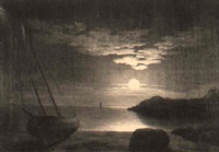 moonrise, gloucester harbour by mary blood mellen