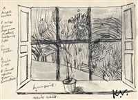 dandelion in landscape; view through the window; dandelions by keith vaughan