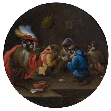 les singes joueurs de cartes et les singes barbiers pair by abraham teniers