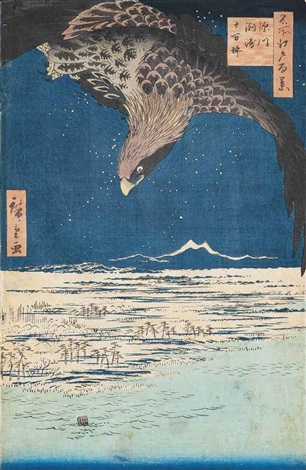 fukagawa susaki juman tsubo bikuni bridge in the snow both from the series meisho edo hyakkei 2 works oban tate e by ando hiroshige