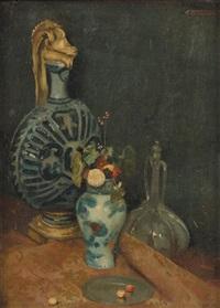 nature morte à la carafe et au vase de fleurs by gustave claude etienne courtois