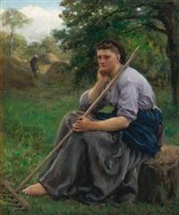faneuse assise à l'orée d'un bois (the haymaker) by jules breton