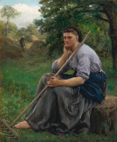 faneuse assise à lorée dun bois the haymaker by jules breton