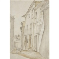 a street scene by frederick etchells
