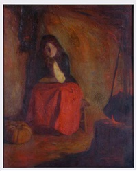 woman seated before a fire (cinderella) by myron barlow
