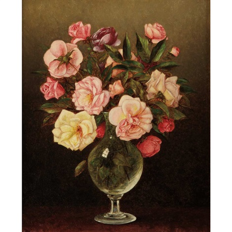 still life of roses in a glass vase by thomas addison richards