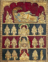 vishnu reclining on the serpent ananta, shiva nataraja, sarawati, durga (4 works) by indian school-tanjore (20)