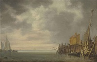 the entrance to a harbour with fishermen pulling in their nets on the jetty and vessels at anchor by simon de vlieger