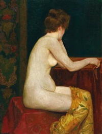 weiblicher, sitzender akt (female, sitting nude) by sigismund righini