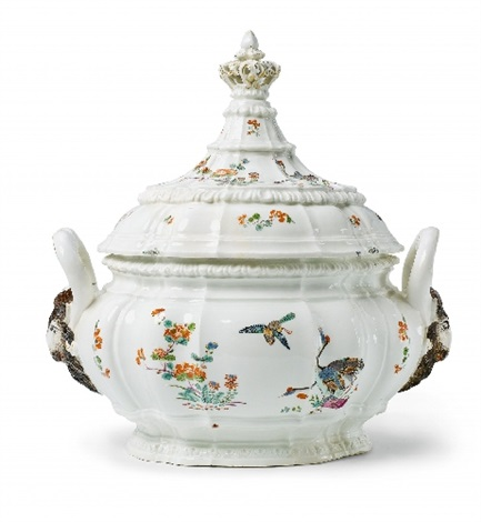 a rare oval meissen tureen and cover painted in the kakiemon style