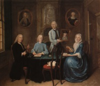 a family group seated around a table by tiebout regters