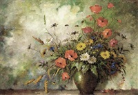 poppies, daisies and wild flowers in a vase by carl h. fischer