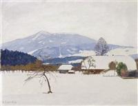 winterlandschaft mit bauernhof by plinio colombi
