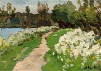landschapje met veldbloemen by nicolaas bastert