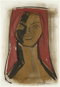 portrait of a woman with a red headscarf (+ 2 others; 3 works) by charles gassner