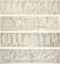 le duc de brunswick blessé à mort à la bataille d'auerstadt, le jour d'iéna (+ 3 others; 4 works) by alexandre-évariste fragonard