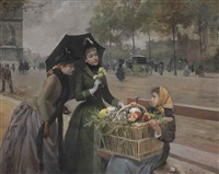 the little flower seller on the champs-élysées by louis marie de schryver