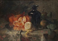 nature morte aux oranges, citron et vase by frans mortelmans