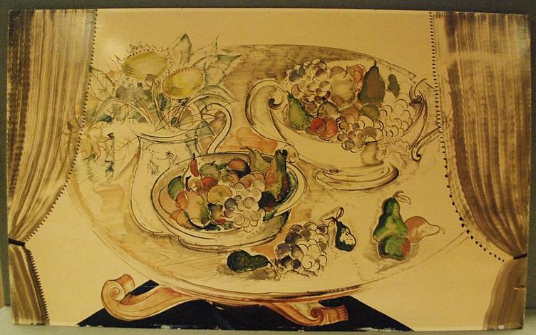 guéridon garni de fruits by albert saverys