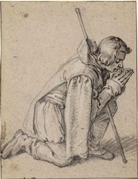 a kneeling shepherd by jacques de gheyn ii