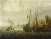 shipping in choppy seas off a harbour by jan peeters the elder