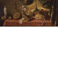 still life of musical instruments, books, and other objects on a table by evaristo baschenis
