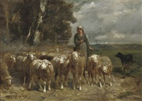 a shepherdess and her flock by charles jacques