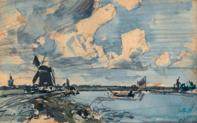 moulin et canal en hollande by johan barthold jongkind