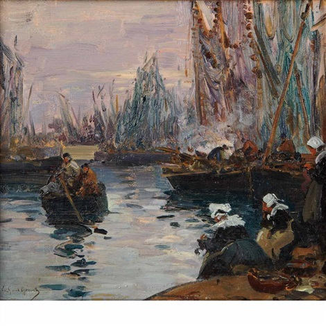 fishing boats returning to harbor by fernand marie eugène legout gérard