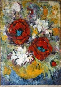 mums and poppies in a yellow bowl by louise august