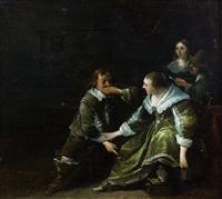 scène galante dans un intérieur by anthonie palamedesz