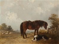 dog and horse in a landscape by edward robert smythe