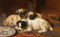 dinner, two pugs and a terrier by horatio henry couldery