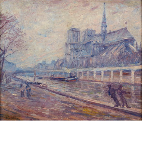 paris les quais notre dame and portrait sketch of a woman a double sided work by francis picabia