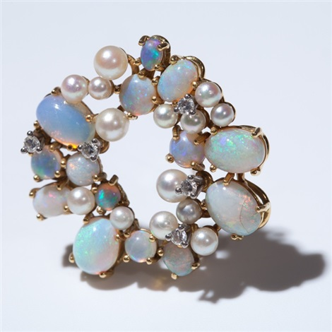18 carat gold brooch with opals diamonds akoya pearls 1950