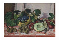 still life with pears, grapes and melons by henry varnum poor
