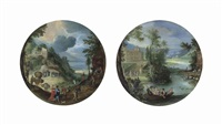 autumn: a wooded landscape with elegantly dressed figures and others...: spring: elegantly dressed figures playing music in a rowing boat...(2 works) by paul bril