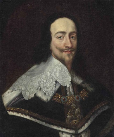 portrait of king charles i 1600 1649 bust length wearing the order of saint george in a painted oval by sir anthony van dyck