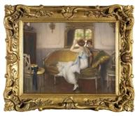 elégante au miroir by edouard gelhay