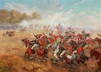french napoleonic chasseurs à cheval de la garde impériale attacking by paul emile léon perboyre